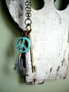 Bohemian Skeleton Peace Feather Necklace