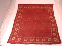 """Slightly Faded Vintage Red Floral Edge Bandana 19"""" x 22"""""""
