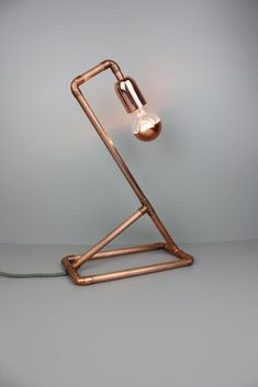 Lampe NF-125 Desk Lamp, Table Lamp, Industrial Furniture, Industrial Table, Metal Pipe, Lamp Design, Lightning, Copper, Steel