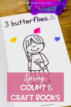 Counting books for kindergarten are even more fun with a craft! This simple kids craft helps build both fine motor skills and numeracy skills. These printable counting books for spring are perfect for an independent math center! #kindergarten #kindergartenmath #sparklinginprimary