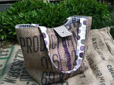 Large Tote Bag Recycled Burlap with Purple by ButtonfootHandmade, $58.00