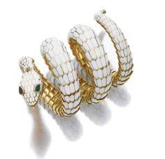 Bulgari yellow gold and white enamel bracelet