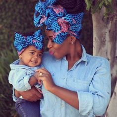 Fabulous shoot for African mum and her baby girl with beautiful head scarv look. African Beauty, African Women, African Fashion, Ankara Fashion, Fashion Hub, Mode Turban, African Head Wraps, Mommy And Me Outfits, Mom Daughter