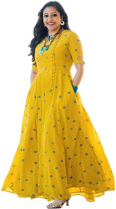 Fabric: Rayon with embroidery work at the front Occasion: Party Wear/Festive Wear Style: Anarkali with ankle length, half sleeves The post Arayna Women& Long Embroidered Rayon Kurti, Yellow appeared first on Blooming Trenz. Anarkali Kurti, Lehenga, Long Anarkali, Beautiful Dresses, Nice Dresses, Dresses For Work, Dresses Dresses, Stylish Dresses, Simple Dresses