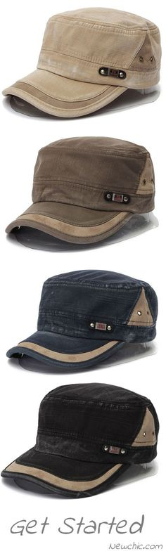 Men Women Vintage Military Army Plain Flat Cap Washed Peaked Hat.Up To 46% 479cfcaee20