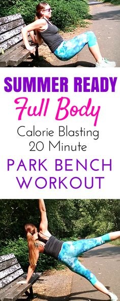 The perfect full body park bench strength training workout targeting abs, arms, and legs. Even a beginner can easily boost their health and fitness without a gym with easy outdoor workouts. This form of exercise is perfect for woman and moms to get fit at playgrounds and have fun! #parkbenchworkout #mommyfitness #exercise #parkbenchexercises