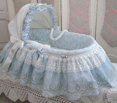 Beautiful Blue Moses Basket for baby