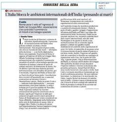 L'Italia blocca ambizioni internazionali dell´India.