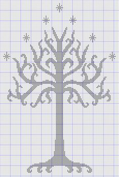 white tree of gondor free cross stitch pattern