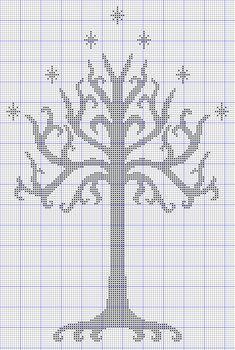 white tree of gondor free cross stitch pattern