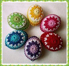 Egg Crafts, Yarn Crafts, Easter Crafts, Holiday Crafts, Thread Crochet, Crochet Doilies, Crochet Toys, Crochet Fruit, Love Crochet