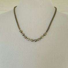 Sparkly statement necklace Simple and classic is this necklace.  Stones are a smoky brown color. Has box chain for the remainder of necklace. Has extension.  Beautiful bronze dark gold color. boutique  Jewelry Necklaces