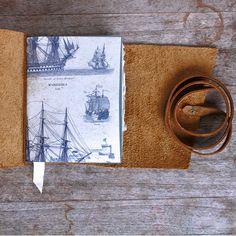 Leder Journal, hölzerne Schiff Mariner, Logbuch