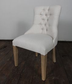 Rascasse Teak Frame French Natural Linen Dining Chair FRENCH COUNTRY FURNITURE $195