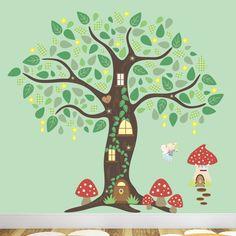 Fairy Wall Decal, Fairy Folk Enchanted Tree Decal Nursery Wall Stickers, Fairy Wall Art, Baby Girl Nursery Decor