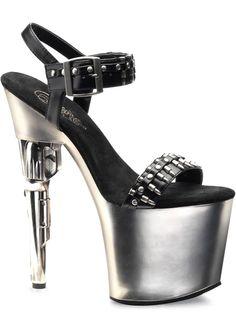 BONDGIRL-712 - BLACK/SILVER - SIZE 6 by Pleaser Sexy Shoes on PervHub #heels #stripper
