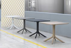 The Clip80 Table has a centre column with four spokes.