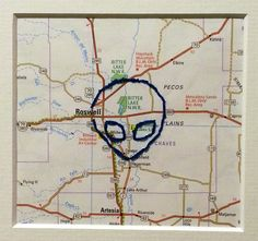 Hand Stitched Alien Roswell New Mexico Map 8x10 by MapBoards
