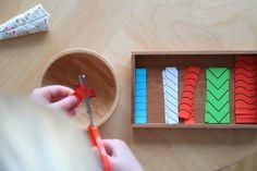 Kinderscheren, Ideen zum Schneiden, erste Schneideübungen nach Montessori, Seerosen basteln, Montessori für zu Hause