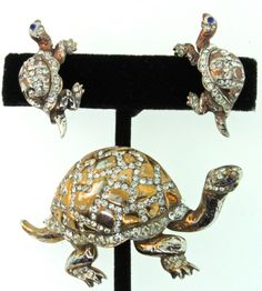 Vintage 1940s REJA STERLING Rhinestone TURTLE Figural Brooch Pin  from thedealhuntress on Ruby Lane