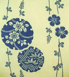 5.27 yards Long Blue Floral Vintage Japanese by CosimaOrimono, $50.00