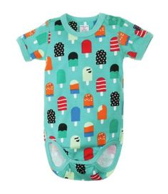 Patterned short sleeved cotton bodysuit in our multicolored Yum Yum print. The featured treats make this a perfect print for a special birthday! Contrasting color at the arm and neckband. $25.  Get them now at http://ilovebabyclothes.com/?page_id=437