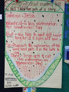 Anchor Chart - Comprehension Lesson - Think Aloud -  Summarizing - This anchor chart/think aloud was used in a second grade classroom along with the picture book called Watermelon Day by Kathi Appelt.