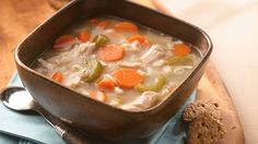 Use your leftover holiday turkey to make from-scratch soup packed with barley and vegetables.