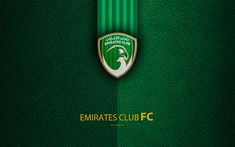 Download wallpapers Emirates Club, FC, 4K, logo, football club, leather texture, UAE League, Ras Al Khaimah, United Arab Emirates, football, Arabian Gulf League