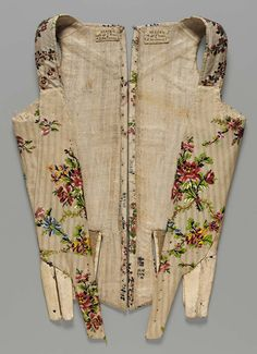 18th century - Corselette in two pieces - Brocaded silk, linen lining, kid leather, and whalebone