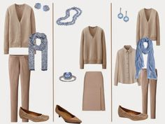 """To show how very versatile these """"accessory families"""" can be, I chose six beige garments for today. From these six pieces I put together ..."""