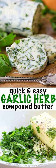 Garlic Herb Compound Butter for Steak – Spend With Pennies Garlic Herb Compound Butter. Fresh garlic, parsley, rosemary and basil make a delicious compound butter for steaks, corn on the cob or fresh bread! Steak Butter, Butter For Steaks, Garlic Butter Steak Sauce, Steak Compound Butter, Garlic Herb Butter, Garlic Soup, Flavored Butter, Homemade Butter, Corn Butter Recipe