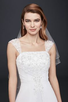 Designed with elegance in mind, this satin A-line wedding dress with detachable cap sleeves features a chiffon split front overlay and metallic embroidery. Offering no train, it\'s a perfect option fo Sell Wedding Dress, Size 12 Wedding Dress, Classic Wedding Dress, Wedding Dress Sleeves, Bridal Dresses, Wedding Gowns, Wedding Reception, Wedding Flowers, Wedding Venues