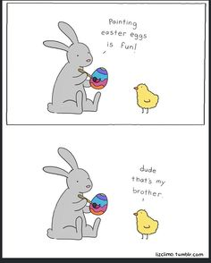 """""""HAPPY EASTER!!! #happyeaster #chocolate #lizclimo #funny #comic #foodcoma #sugarrush #humor #easter #easterbunny #malteasterbunny #thebest"""""""