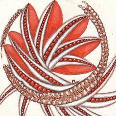 """Ein Bild gezeichnet von Ela Rieger CZT mit """"Kaffee"""", orange und braun und den Mustern Phicops und Echoism"""