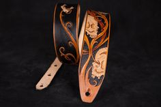 "Leather guitar strap skull ""Vanity"" - Custom hand tooled leather strap made by Bandit"