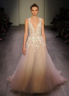 Hayley Paige Fall 2016 blush sleeveless wedding dress with plunging neckline and floral embroidery | https://www.theknot.com/content/hayley-paige-wedding-dresses-bridal-fashion-week-fall-2016