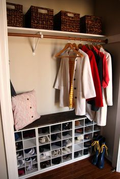 18 Coat Closet Organization Tricks for Busy Families Is your coat closet brimming with clutter? Wish you could get out the door faster in the mornings? These coat closet organization ideas will save the day! Front Hall Closet, Hallway Closet, Closet Bedroom, Closet Doors, Upstairs Hallway, Hall Closet Organization, Closet Shoe Storage, Organization Ideas, Shoe Cubby