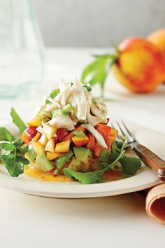 Crab Salad with Peaches and Avocados - Fresh Peach Recipes - Southernliving. The crab salad can be made ahead, but the avocado and peach layers are best prepared just before serving. Recipe: Crab Salad with Peaches and Avocados Crab Recipes, Avocado Recipes, Salad Recipes, Healthy Recipes, Main Dish Salads, Main Dishes, Fresh Peach Recipes, Crab Salad, Avocado Salad