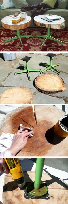 16 Inspiring DIY Tree Stump Projects for Rustic Home Decor - how to build #DIY side tables from tree trunk and old chair legs #homedecor