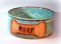 Handmade Pottery Dog Bowl Ceramic Dog Food by LaurenBauschOriginal, $26.00