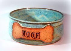 Handmade Pottery Dog Bowl Ceramic Dog Food by LaurenBauschOriginal, $26.00