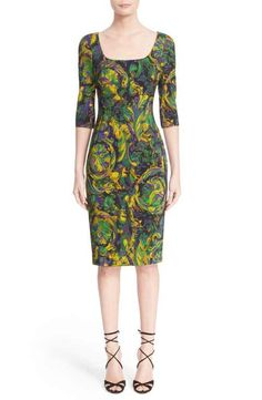 Versace Collection Floral Print Stretch Cady Sheath Dress