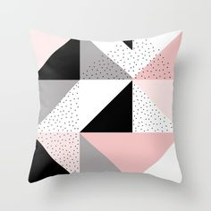 Geometric throw pillow cover - pastel pink white black and grey geometric cushion cover - Kissen Grey Bedroom With Pop Of Color, Bedroom Black, Black White And Grey Bedroom, Pastel Bedroom, Geometric Cushions, Geometric Throws, Geometric Pillow, Pink Pillows, Cute Pillows