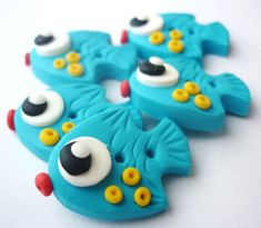 Torquoise fish shaped buttons handmade with by JustFingerPrint, $10.00
