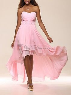 Pink A-line V-neckline Chiffon Front Short Short Back Long Evening Dress With Beads for bridemaids but in blue