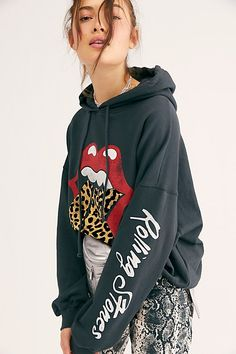 Rolling Stones Tongue Hoodie by Daydreamer at Free People, Black, XS Rolling Stones Shirt, Fall Outfits, Casual Outfits, Hoodie Outfit, Lace Tops, Hoodies, Sweatshirts, Cropped Jeans, Graphic Tees