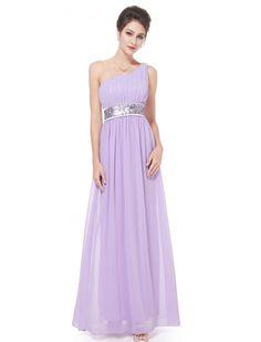One Shoulder Empire Waist Evening Gown