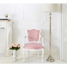 The Duchess Pink Chair - Pink Velvet French Bedroom Chair