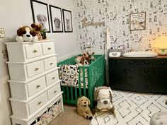 New Ideas For Baby Nursery Black Furniture Gender Neutral Dog Nursery, Nursery Twins, Nursery Ideas, Nursery Rugs, Twin Nursery Gender Neutral, Neutral Nurseries, Boy Nurseries, Baby Room Closet, Nursery Layout